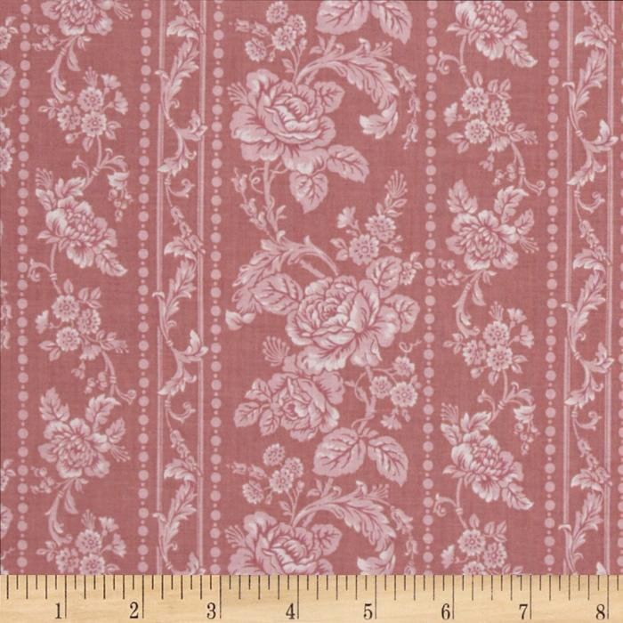 Pristine Floral Stripes Antique Rose