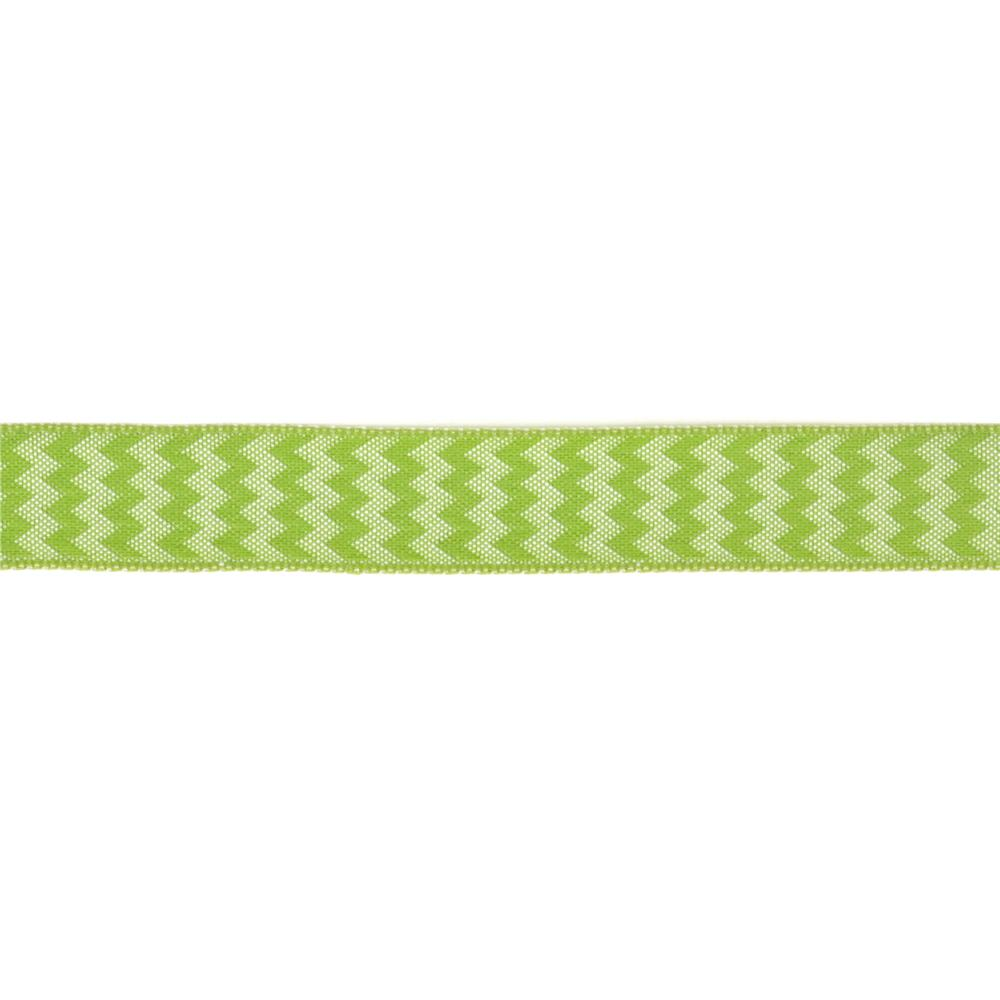 "5/8"" Chevron Stripe Wired Ribbon Parrot Green"