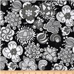 Licorice Fizz Large Floral Black/Grey