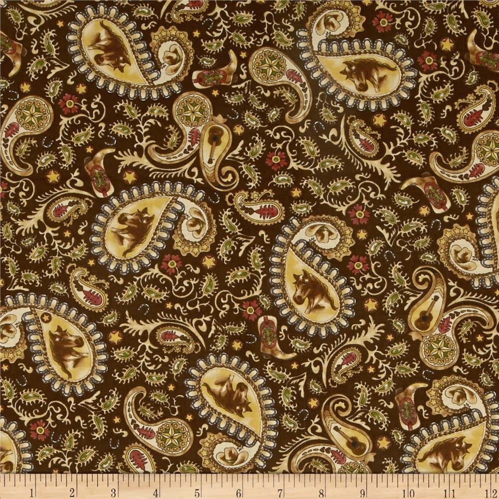 Moda Horseshoe Trail Western Paisley Brown