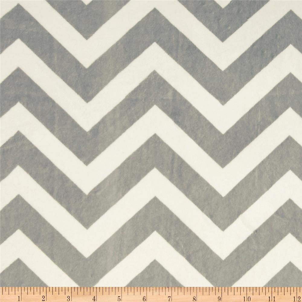 Minky Chevrons Cuddle Silver/White