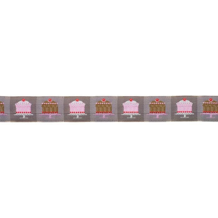 1 1/8&#39;&#39; Ribbon Tiny Cakes Taupe/Pink