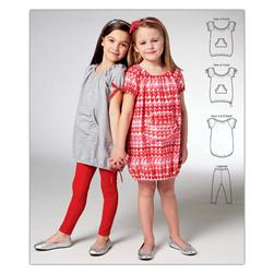 Kwik Sew Girls' Tunic Dresses and Leggings Pattern