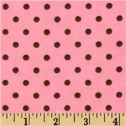 Aunt Polly's Flannel Small Polka Dots Pink/Brown