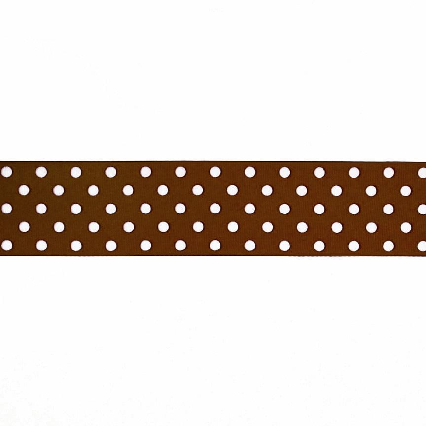 "1.5"" Grosgrain Polka Dots Brown/White"