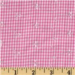 0285717 Embroidered Woven Gingham Pink