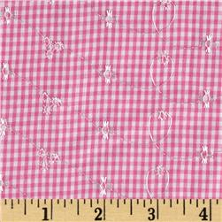Embroidered Woven Gingham Pink
