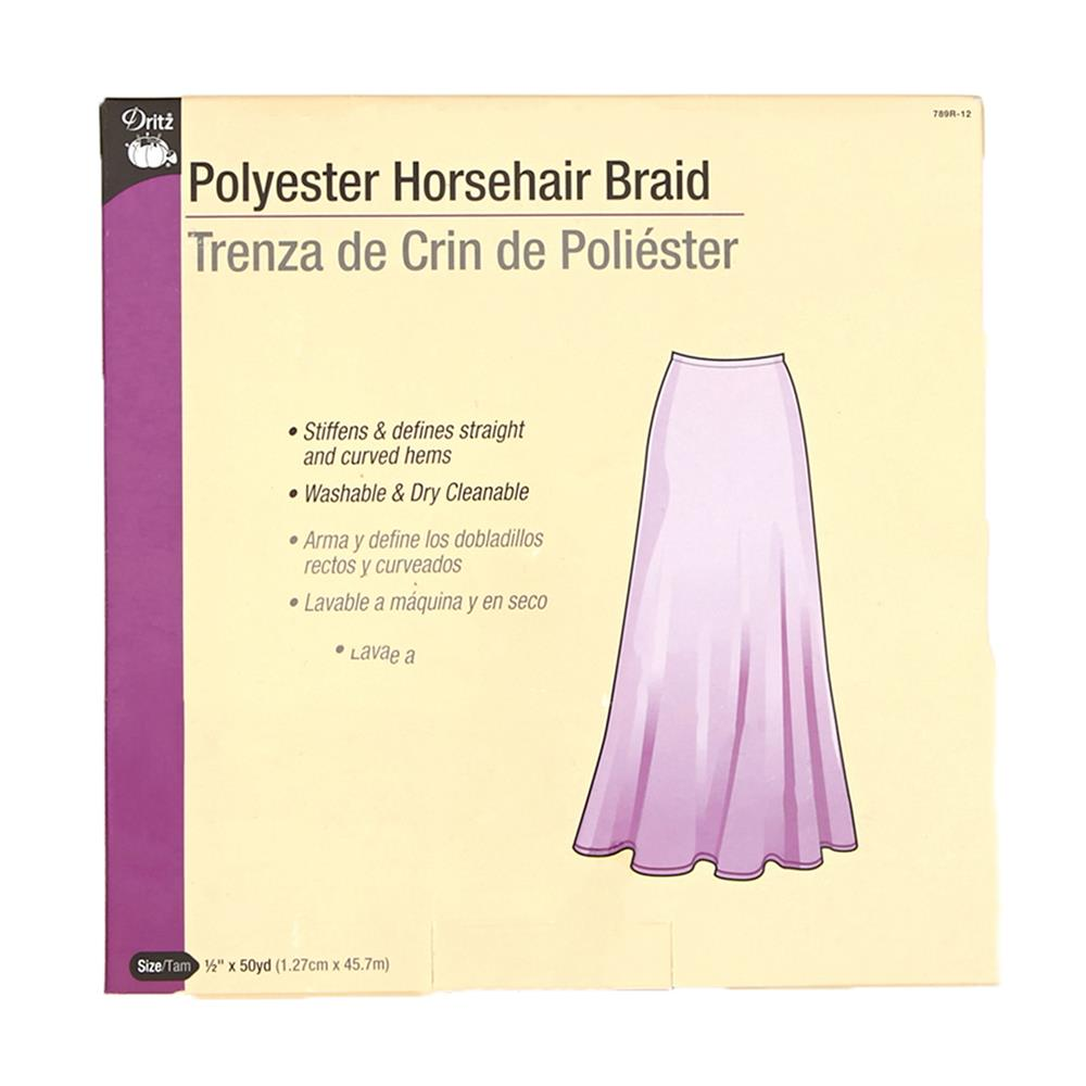 Polyester Horsehair Braid 1/2'' White
