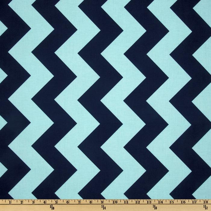 Riley Blake Chevron Large Aqua/Navy
