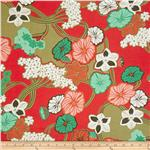 Cotton Lawn Shirting Floral Red/Aqua
