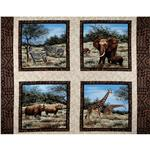 0269543 African Plains Animal Blocks Pillow Panel Brown