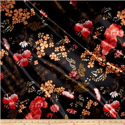 Designer Satin Floral Black/Orange