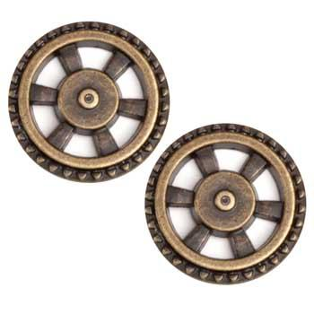 Metal Button 7/8'' Wheel Antique Brass