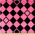 Minky Argyle Hot Pink/Black