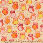 Della Micro Fleece Little Owls Blossom