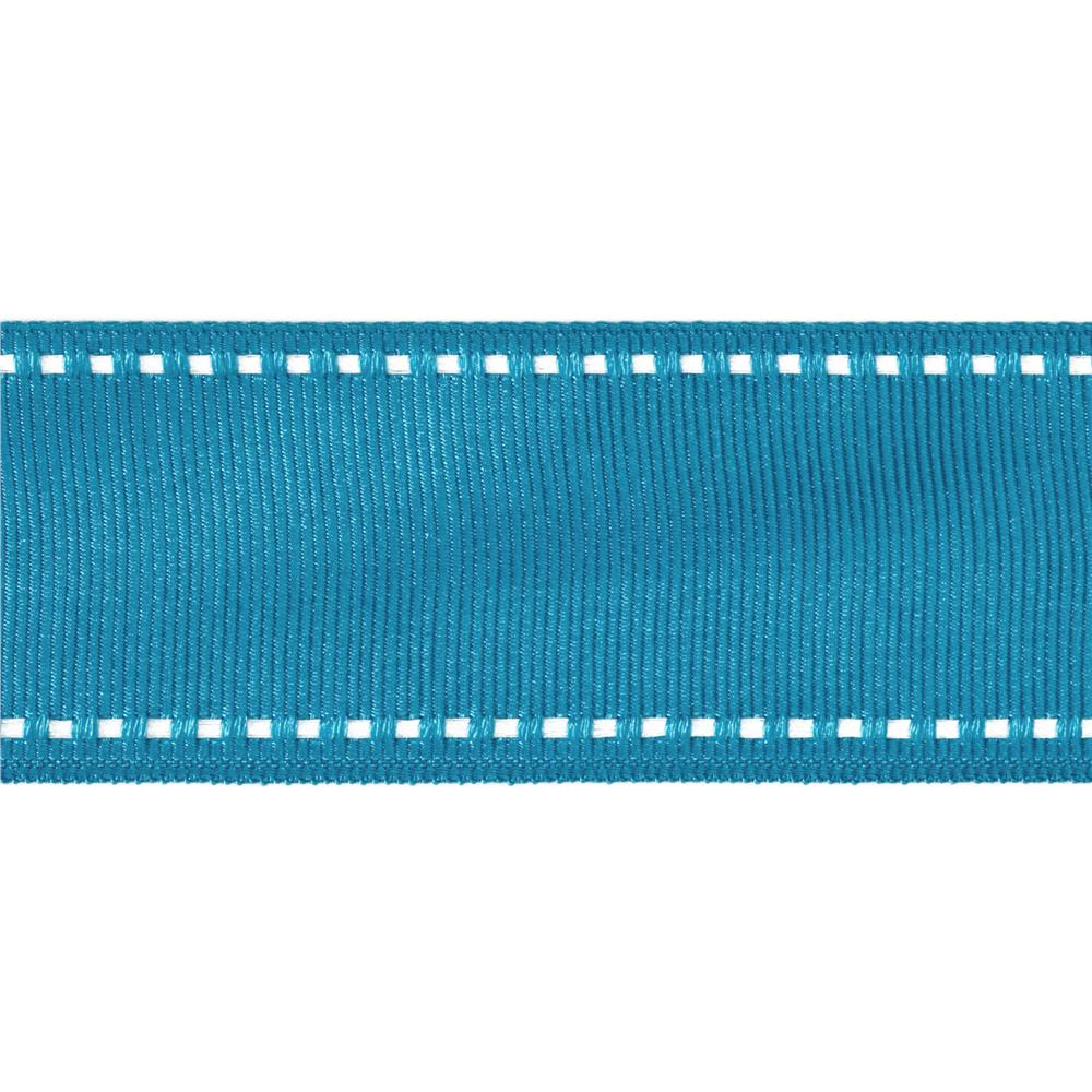 1 1/2&#39;&#39; Grosgrain Ribbon Saddle Stitch Turquoise/White