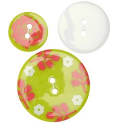 Fashion Buttons 3/4'', 1.00'', 1 3/8'' Coordinates Lily's Print Lime/Orange/White