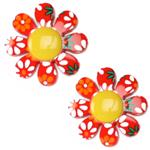 JHB-052 Novelty Button 7/8'' Flower Power Yellow/Multi
