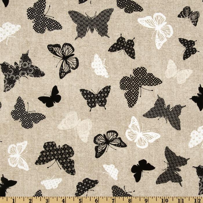 Timeless Treasures Bird Song Butterfly Beige/Black