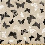 FM-950 Timeless Treasures Bird Song Butterfly Beige/Black