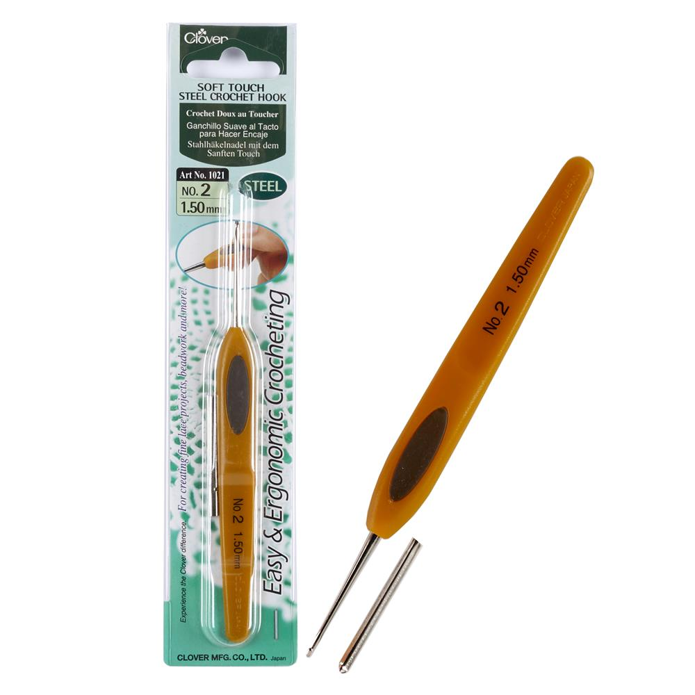 Clover Soft Touch Steel Crochet Hooks Size 2 (1.50mm)