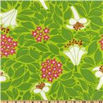 UN-936 Michael Miller Lush Laminated Cotton Flower Bed Grass Green