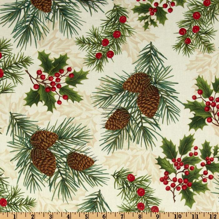 Timeless Treasures Season's Greetings Pinecones & Berries Ivory