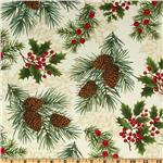 Timeless Treasures Season&#39;s Greetings Pinecones &amp; Berries Ivory