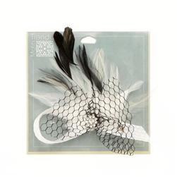 "Angel Wing Feather Brooch With Rhinestone 5"" x 5"" White"
