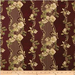 Madeline Wallpaper Stripe Metallic Burgundy
