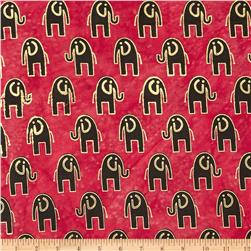 Indian Batik Metallic Elephant Red
