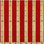 School Days Ruler Stripe Red/Natural