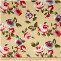 Designer Cotton Voile Roses Yellow Cream/Red