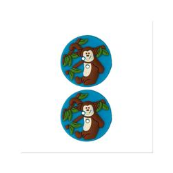 Novelty Button Rubber 1'' Monkey Blue/Multi