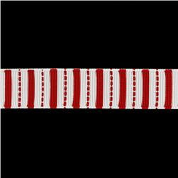 "Riley Blake 5/8"" Grosgrain Ribbon Stripes Red"