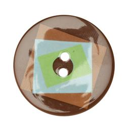 Fashion Button 1-3/8'' Confetti Sequels Brown/Blue