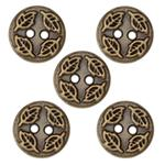 Fashion Button 1/2'' Value Pack Leaf Embossed Antique Brass