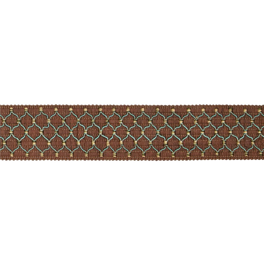 "Decorative Trim 2"" Braid Brown/Aqua"