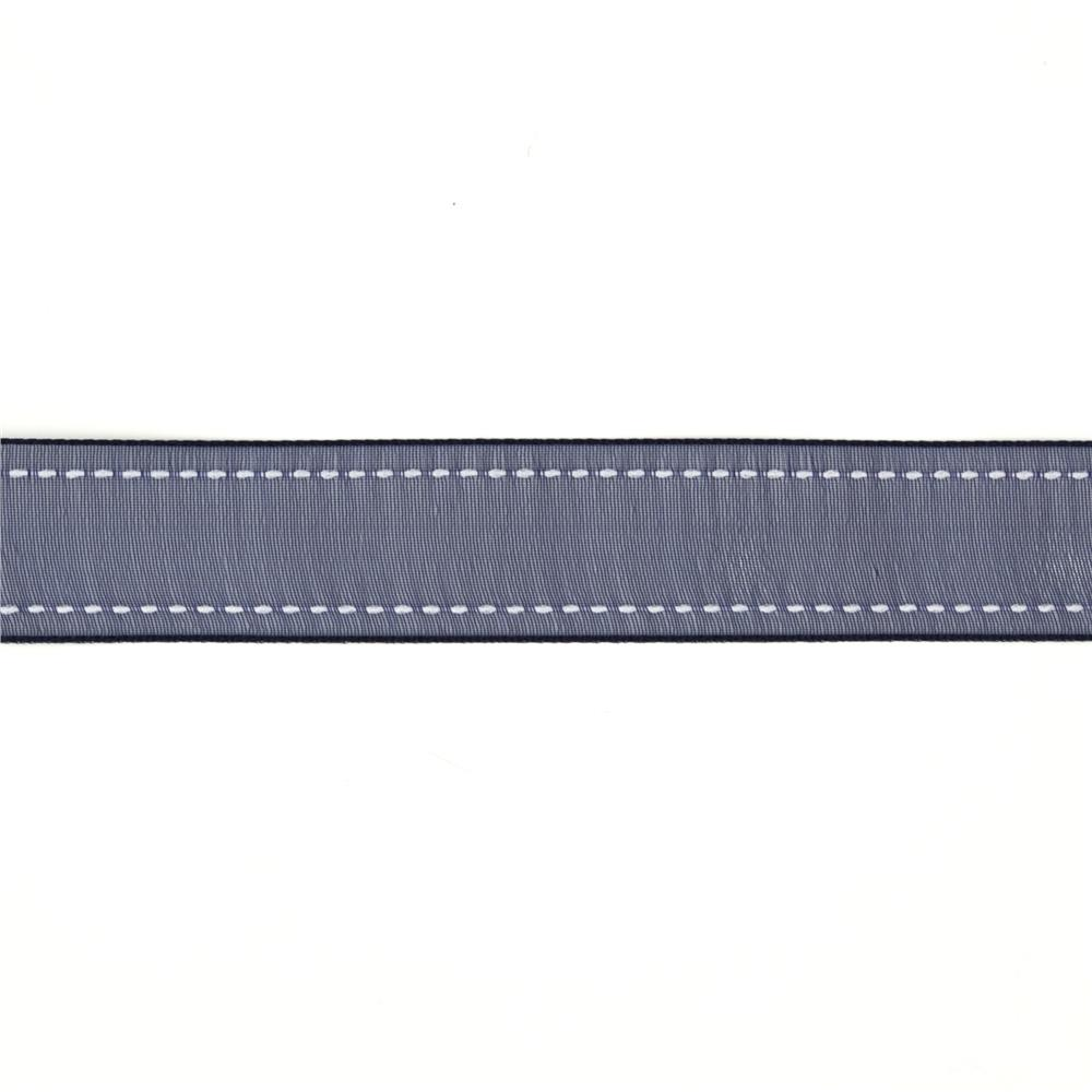 "7/8""  Sheer Stitched Edge Ribbon Navy"