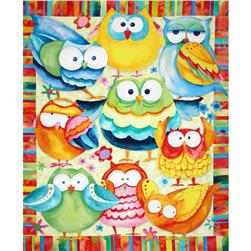 Whoo Loves Ya Quilt Panel Navy