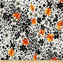 Stretch ITY Jersey Knit Spotted Floral Orange/Black