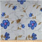 Crepe de Chine Flowers Blue/Grey