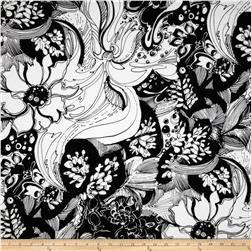 Black & White Metallic Large Floral