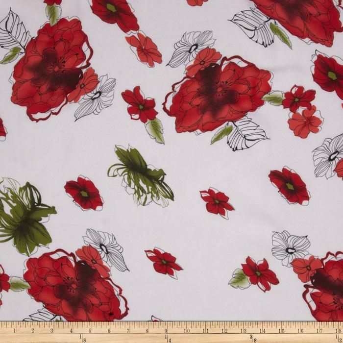 Angeline Chiffon Floral Dance Red/White