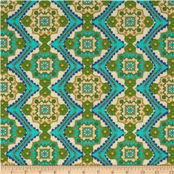 Designer Cotton Lawn Tile Turquoise/Green