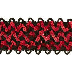 "2 3/4"" Stretch Sequin Ric Rac Ribbon Trim Red/Black"