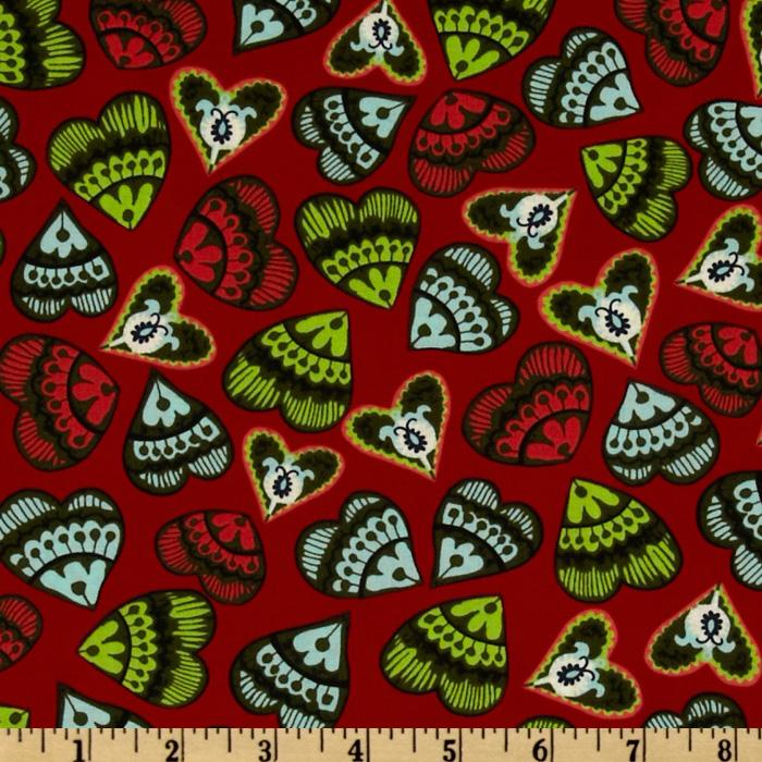 Folk Heart Hearts Red/Multi