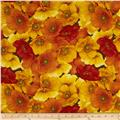 Windflower Flannel Packed Poppies Gold