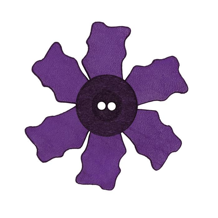 2.25'' Leather Button Flower Purple
