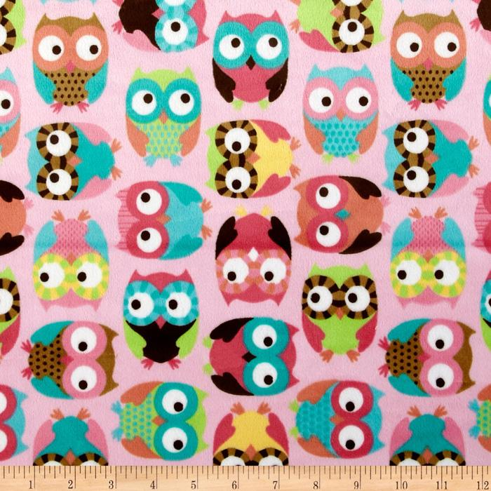 Minky Softie Owls Pink